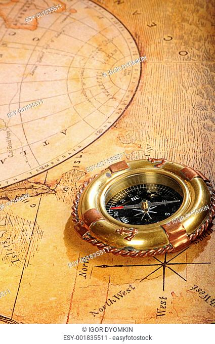 old-fashioned compass on a background