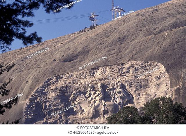 Atlanta, GA, Georgia, Georgia Stone Mountain Park, Confederate Memorial Carving on Stone Mountain, President Jefferson Davis