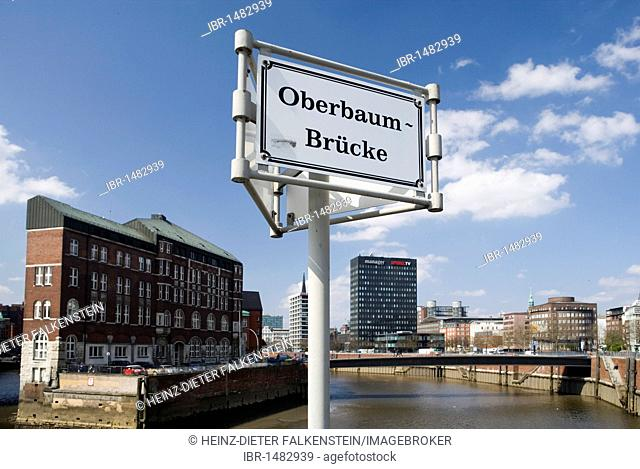 Speicherstadt, warehouse district, and the Spiegel building seen from the Oberbaumbruecke bridge, Hamburg, Germany, Europe