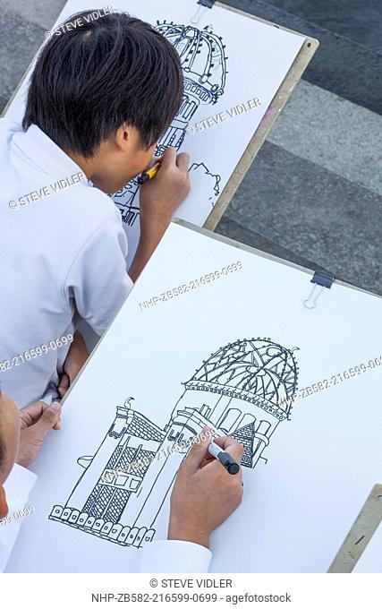 Japan, Kyushu, Hiroshima, Peace Memorial Park, School Children Drawing the A-Bomb Dome