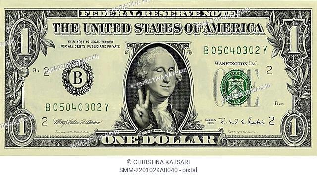 George Washington gesturing peace on a dollar bill