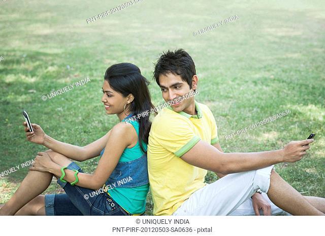Friends text messaging on mobile phones in a park, Lodi Gardens, New Delhi, Delhi, India