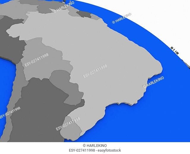Map of Brazil on 3D model of Earth with countries in various shades of grey and blue oceans. 3D illustration