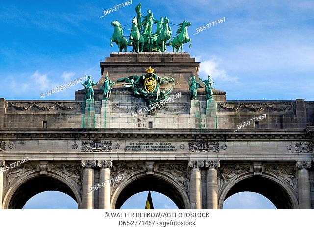 Belgium, Brussels, Cinquantenaire Park and triumphal arch