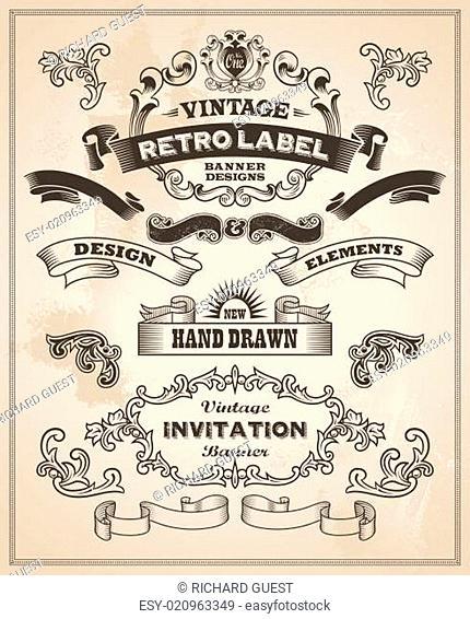 Calligraphic design elements. Vintage banner and ribbon vector set
