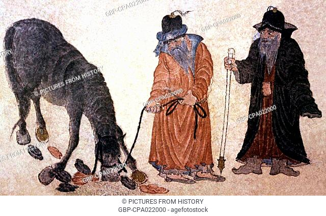 Central Asia: Siyah Kalem School, 15th century. Two Turkmen nomads converse beside a grazing horse