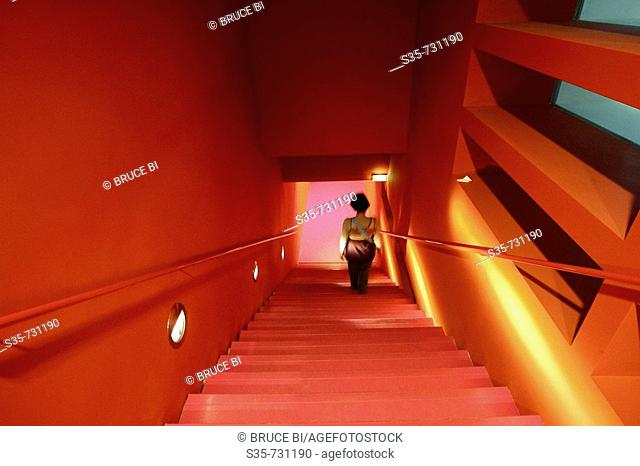 France. Paris. Staircase inside of newly opened architecture museum Cite de I'Architecture et du Patrimoine. It displays replicas of all the architecture...