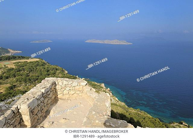 View from the castle ruins of Kámiros, Rhodes, Greece, Europe