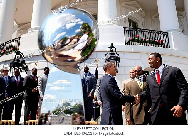 President Barack Obama greets members of the Super Bowl Champion New York Giants. South Lawn of the White House, June 8, 2012. (BSLOC-2015-13-198)