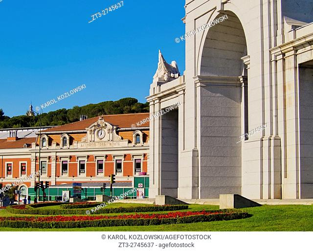 Spain, Madrid, View of the Puerta de San Vicente and the Estacion del Norte, now Principe Pio train Station and Shopping Center