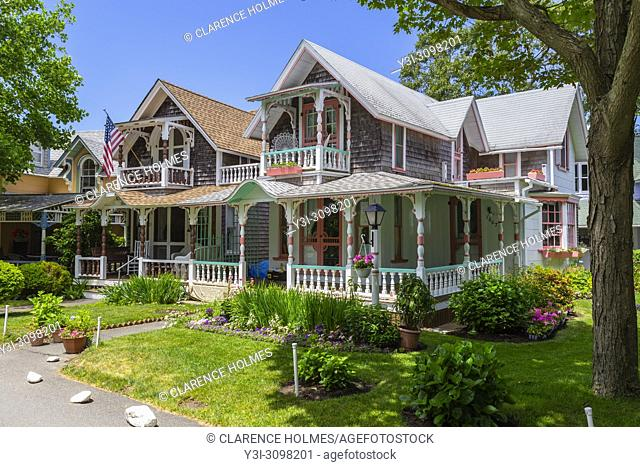 Colorful gingerbread cottages in the Martha's Vineyard Camp Meeting Association (MVCMA) in Oak Bluffs, Massachusetts