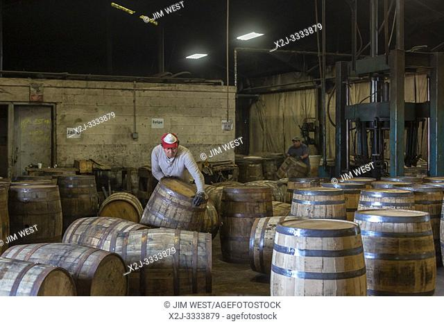 Louisville, Kentucky - Workers at Kelvin Cooperage make oak barrels for aging bourbon and wine