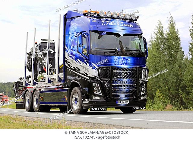 LEMPAALA, FINLAND - AUGUST 9, 2018: Volvo FH16 timber truck of T. Felle & Sonner Transport As from Norway in truck convoy to Power Truck Show 2018