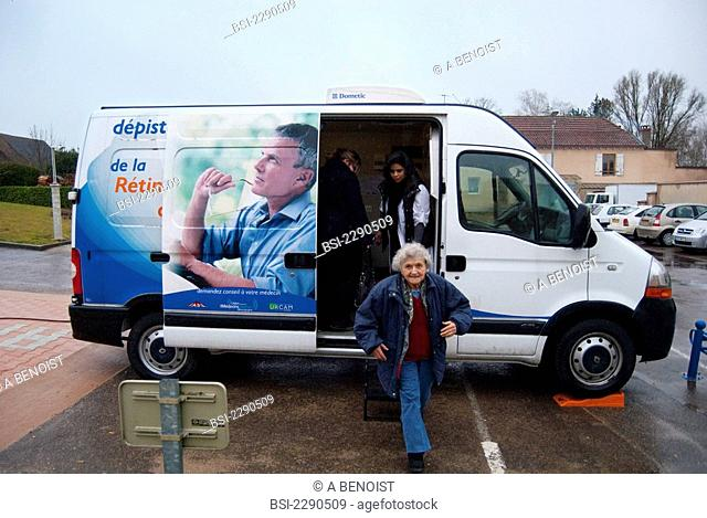 Photo essay at Pierre de Bresse Burgundy, France in an itinerant truck for the free screening of diabetic retinopathy. The truck visits small towns of Bourgogne
