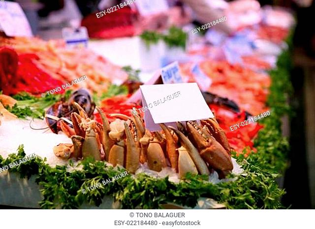 Fish market in Spain with seafood and ice