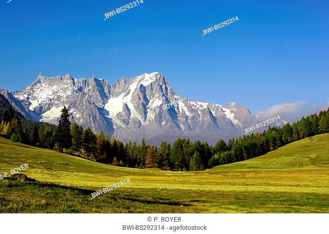 Grandes Jorasses mountains seen from the Aosta Valley, Italy