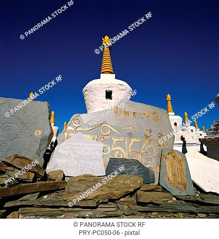Pagoda and prayer's stones,Tibet