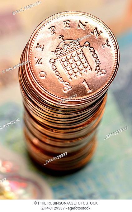 Pile of British pennies