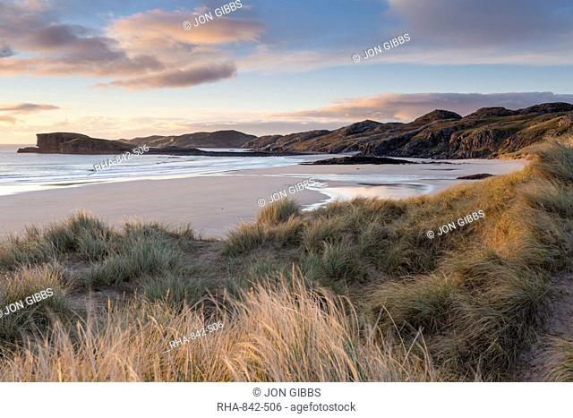 Late evening light on the dunes at Oldshoremore, Sutherland, Scotland, United Kingdom, Europe