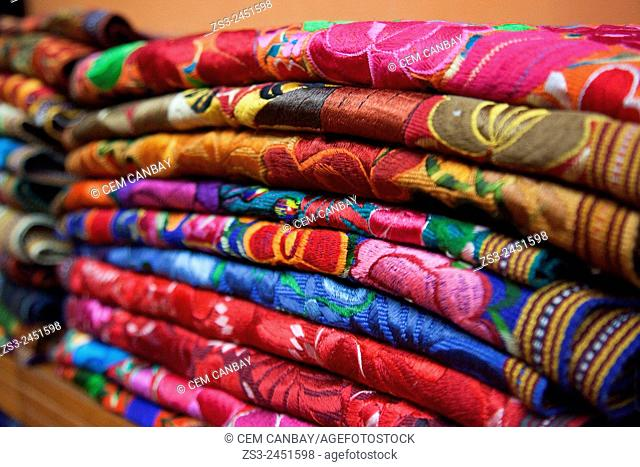Colorful blankets for sale inside of a shop, Merida, Yucatan Province, Mexico, Central America