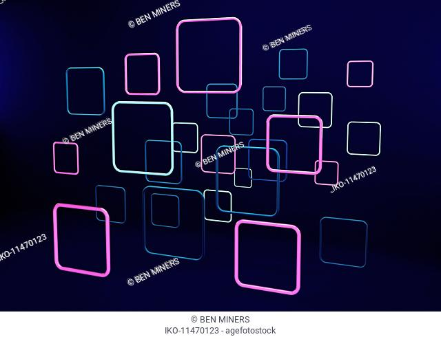 Abstract neon squares on black background