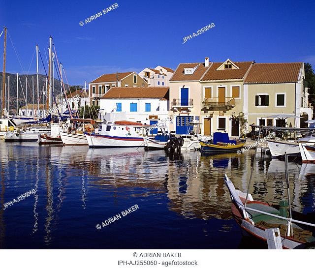 Picturesque fishing harbour at Fiskardo on Kefalonia