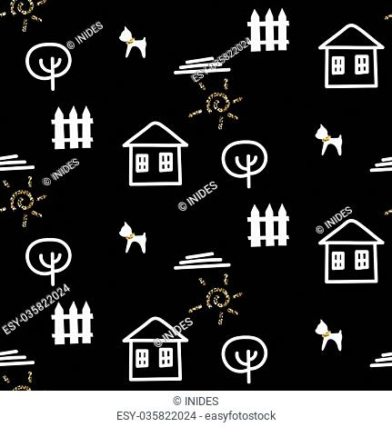 Scandinavian black courtyard fun ornament with house, dog, tree and fence. Modern shimmer details stylish texture