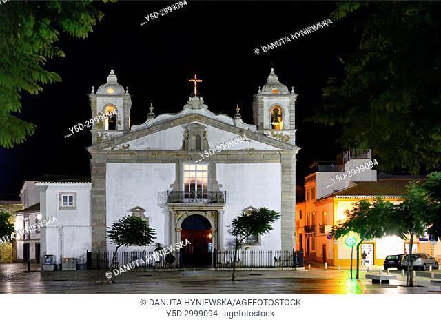 historic part of Lagos city at night, Praca Infante Dom Henrique, Igreja de Santa Maria, Algarve, Portugal, Europe