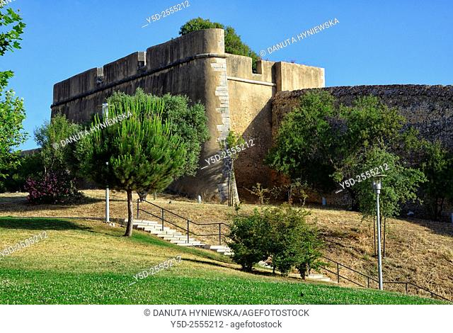Europe, Portugal, Algarve, Lagos, historic fortified walls surrounding old town, seen from the outside