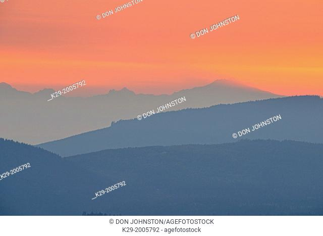 Sunrise skies over the Strait of Juan de Fuca with Mt. Baker , Olympic National Park, Washington, USA