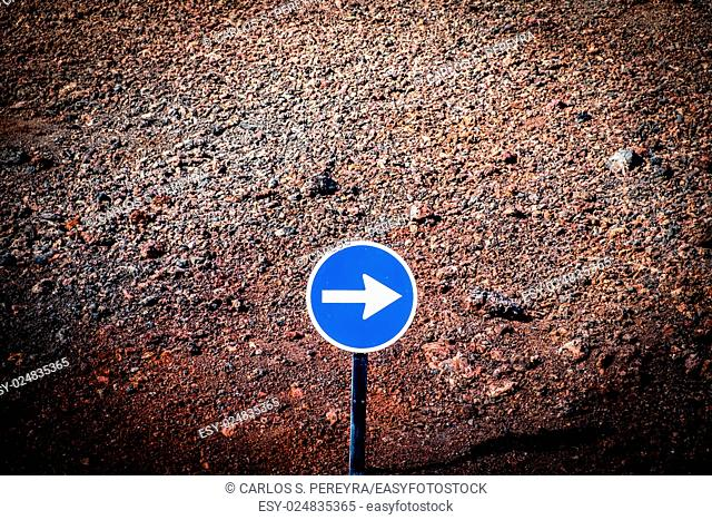Traffic sign in the volcanic region of Lanzarote in Canary Islands, Spain