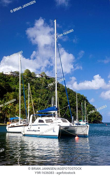 Catamaran in the tiny harbor at Marigot Bay on the West coast of St  Lusica, West Indies