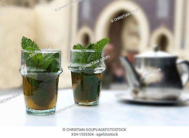 mint tea, Boujloud gate, Fes, Morocco, North Africa