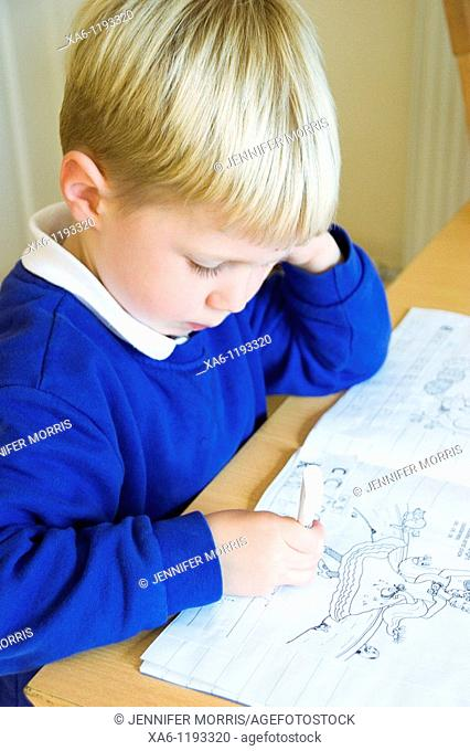 A young boy concentrates as he completes his written homework