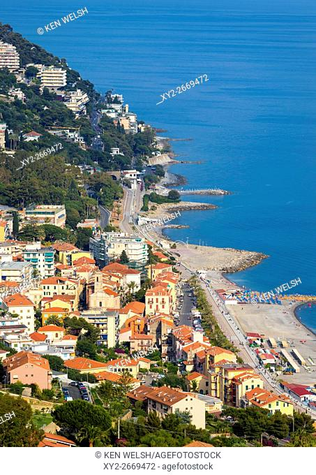 Ospedaletti, Imperia Province, Liguria, Italy. Popular town on the Riviera dei Fiori, of the Coast of Flowers