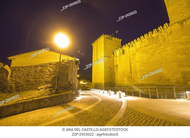 Mora de Rubielos village by dusk Teruel province Spain The medieval castle