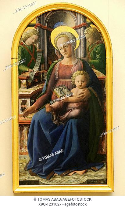 Madonna and Child Enthroned with Two Angels, by Fra Filippo Lippi Italian, Florentine, ca  1406-1469, Tempera and gold on wood, transferred from wood