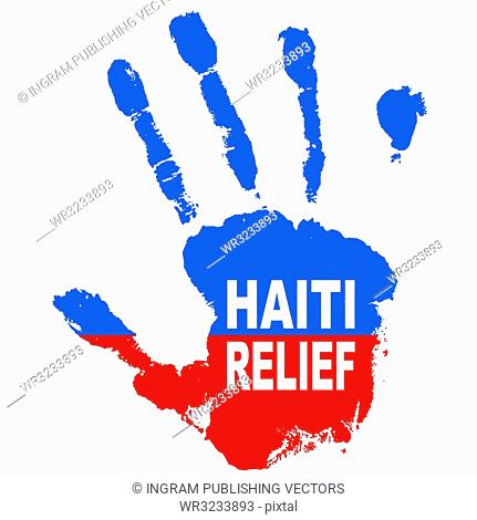 Grunge ink hand with the colours of haiti flag and relief message