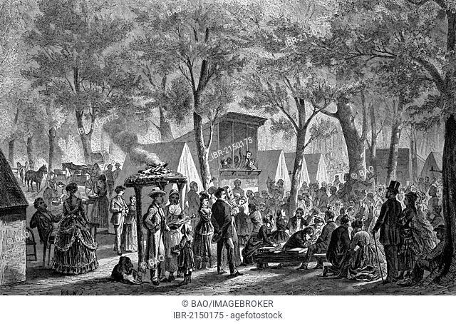 Camp meeting of Methodists, historical woodcut, circa 1870