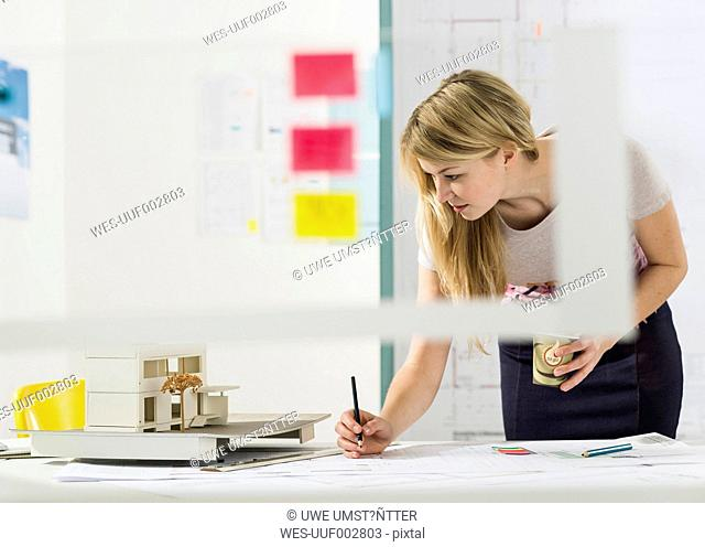 Young architect working at desk