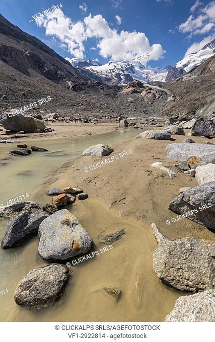 Ova da morteratsch river, Morteratsch glacier, Bernina group, Morteratsch valley, Engadine, Switzerland, Europe
