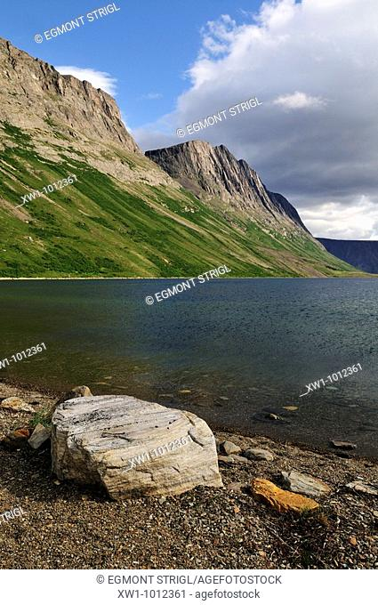 beach at North Arm of Saglek Fjord, Torngat Mountains National Park, Newfoundland and Labrador, Canada