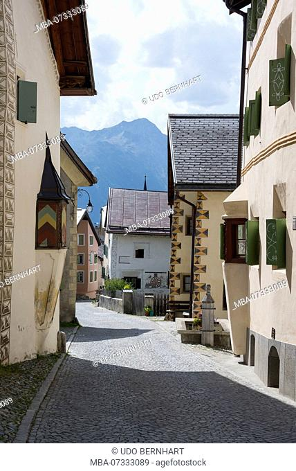 Typical row of houses, Guarda, municipality Scuol, Lower Engadine, Grisons, Switzerland