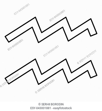 Aquarius symbol zodiac icon black color vector illustration flat style simple image