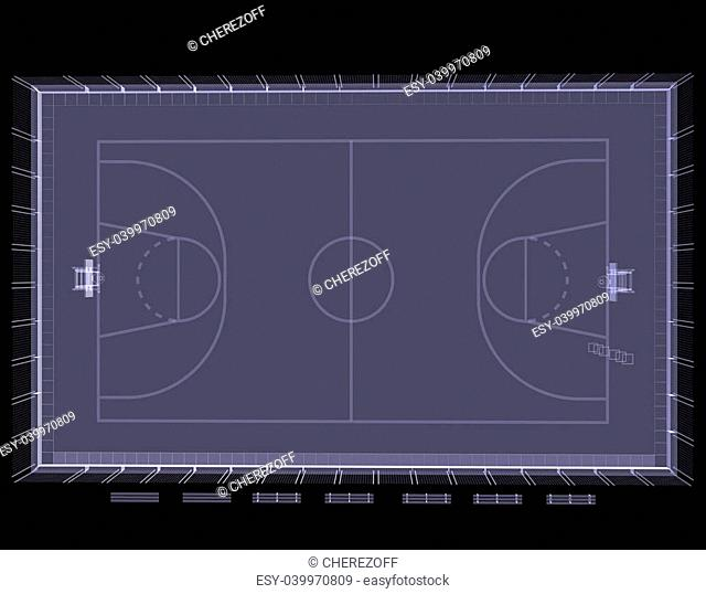 Basketball court. X-ray. 3d render isolated on a black background
