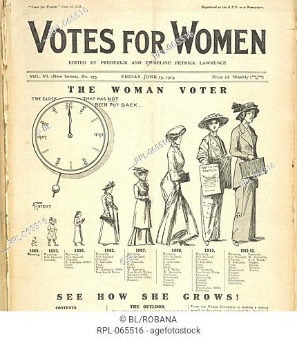 The woman voter, 'The woman voter- see how she grows!'. Image taken from Votes for women. New series. Originally published/produced in June 13, 1913