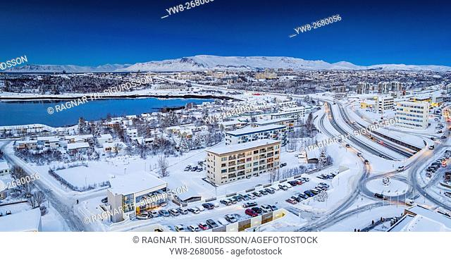 Aerial view in the winter, Kopavogur, Iceland. Kopavogur is a suburb of Reykjavik. This image is shot using a drone