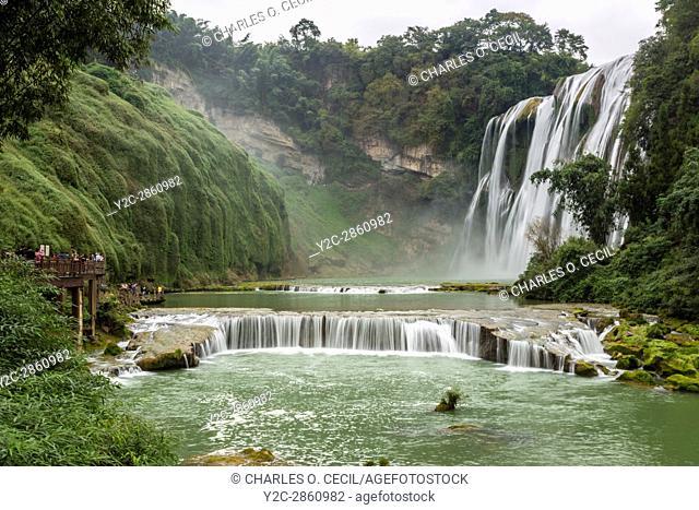 Guizhou Province, China. Yellow Fruit Tree (Huangguoshu) Waterfall Scenic Area
