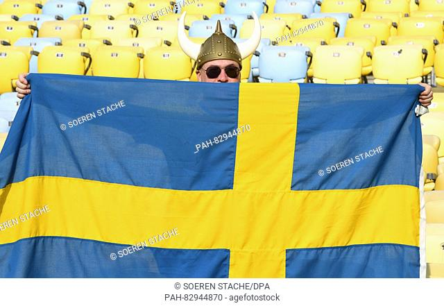 A fan of Sweden is seen in the stands before the Women's soccer Gold Medal Match between Sweden and Germany during the Rio 2016 Olympic Games at the Maracana in...