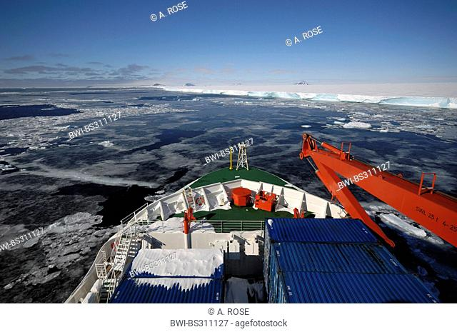 panoramic view over the bow of a research vessel at the edge of the disintegrated iceshelf in the 'Larsen A' area, Antarctica
